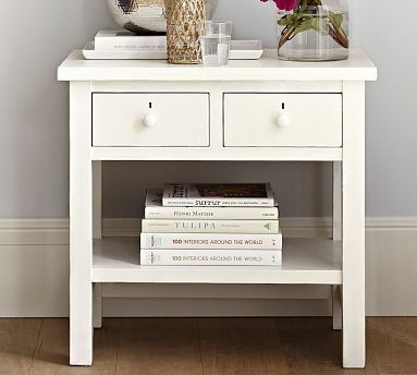 Farmhouse 2 Drawer Nightstand Bedside Table Shaker Furniture 2 Drawer Nightstand