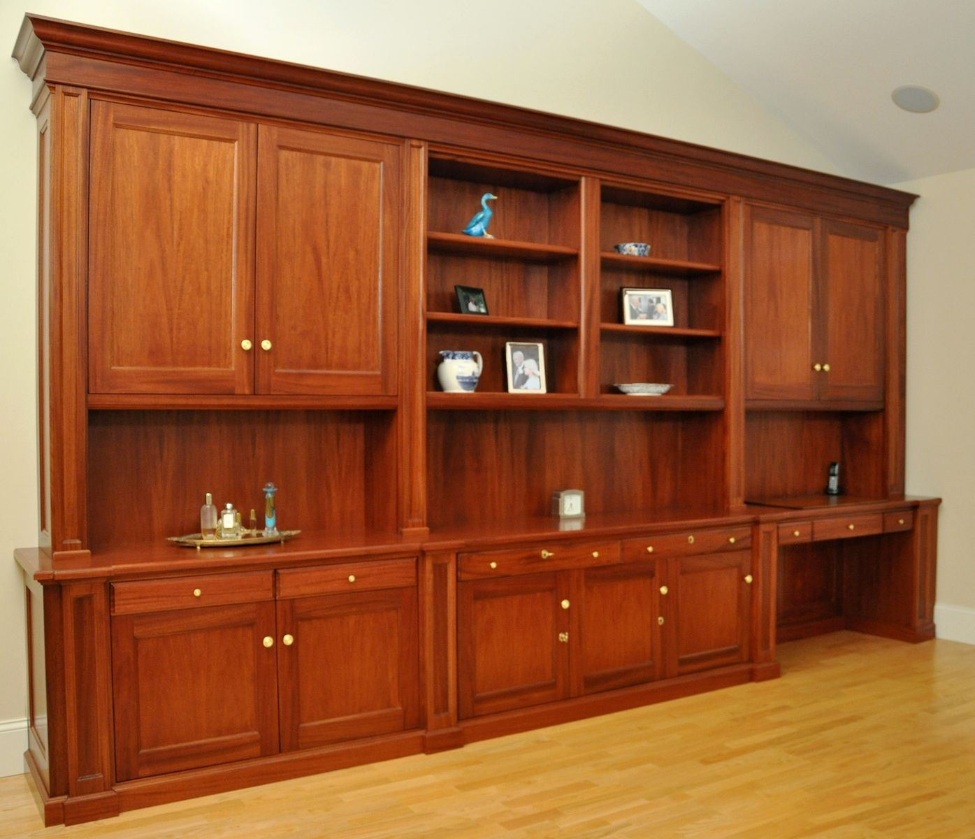 Traditional Mahogany Wall Unit Home Office Desk Wall Unit Home