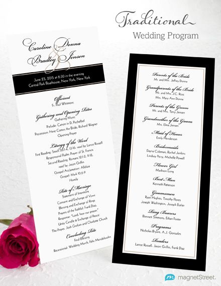 wedding program wording