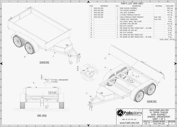 fabplans hydraulic tipper trailer plans blueprints