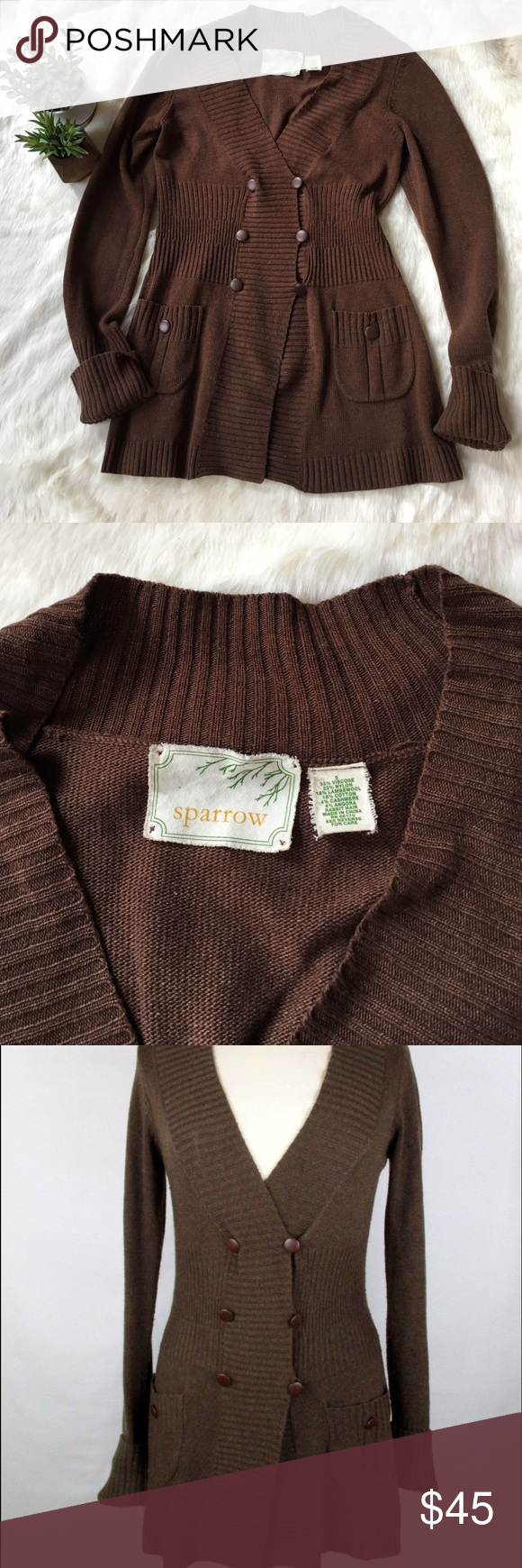 Anthropologie chocolate brown cardigan sweater