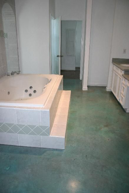 Stained Concrete In Aqua Blue Want For My Bathroom For The Home Painted Concrete Floors