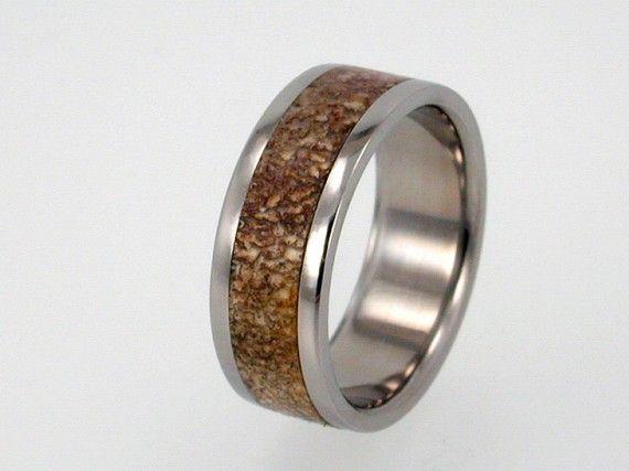 Titanium Deer Horn Wedding Band 10th Anniversary Gift For David