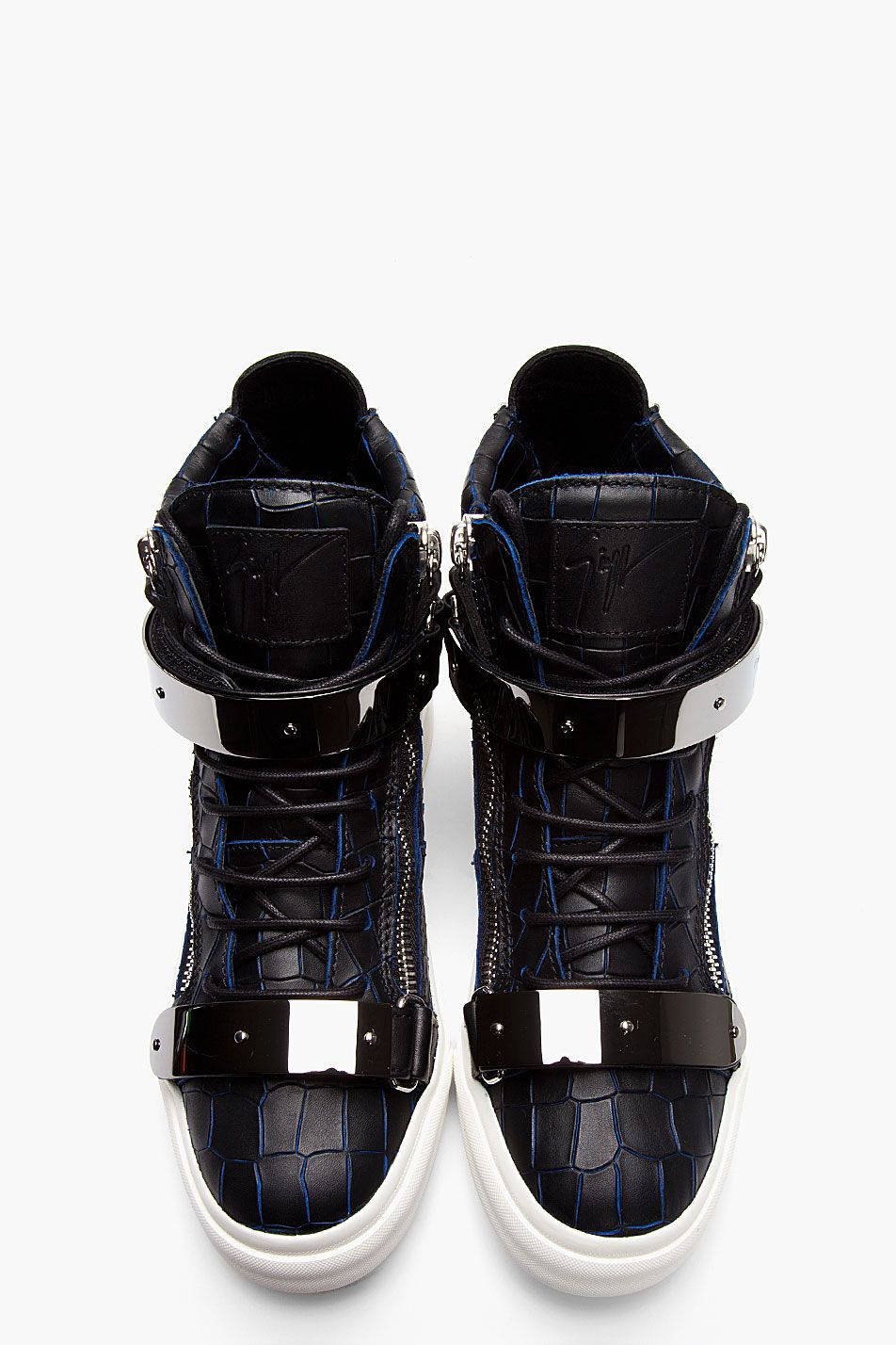GIUSEPPE ZANOTTI - Black and navy croc-embossed leather London high-tops  High top leather sneakers in black with navy blue edging at seams  throughout.