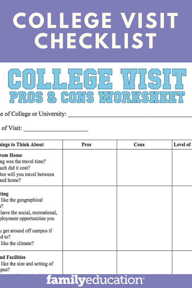 graphic about Printable College Application Checklist known as Faculty Go to Listing Worksheet Young people Monetary assist