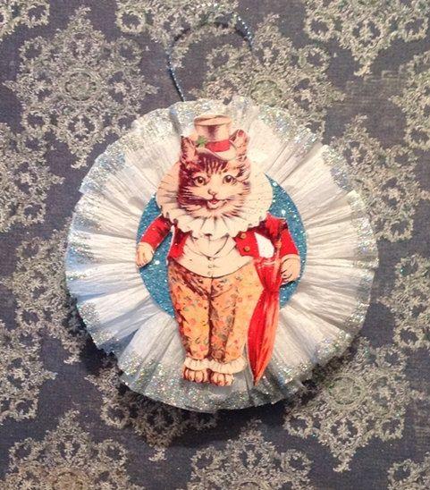 White Crepe Paper Rosette Ornament Vintage Cat Christmas