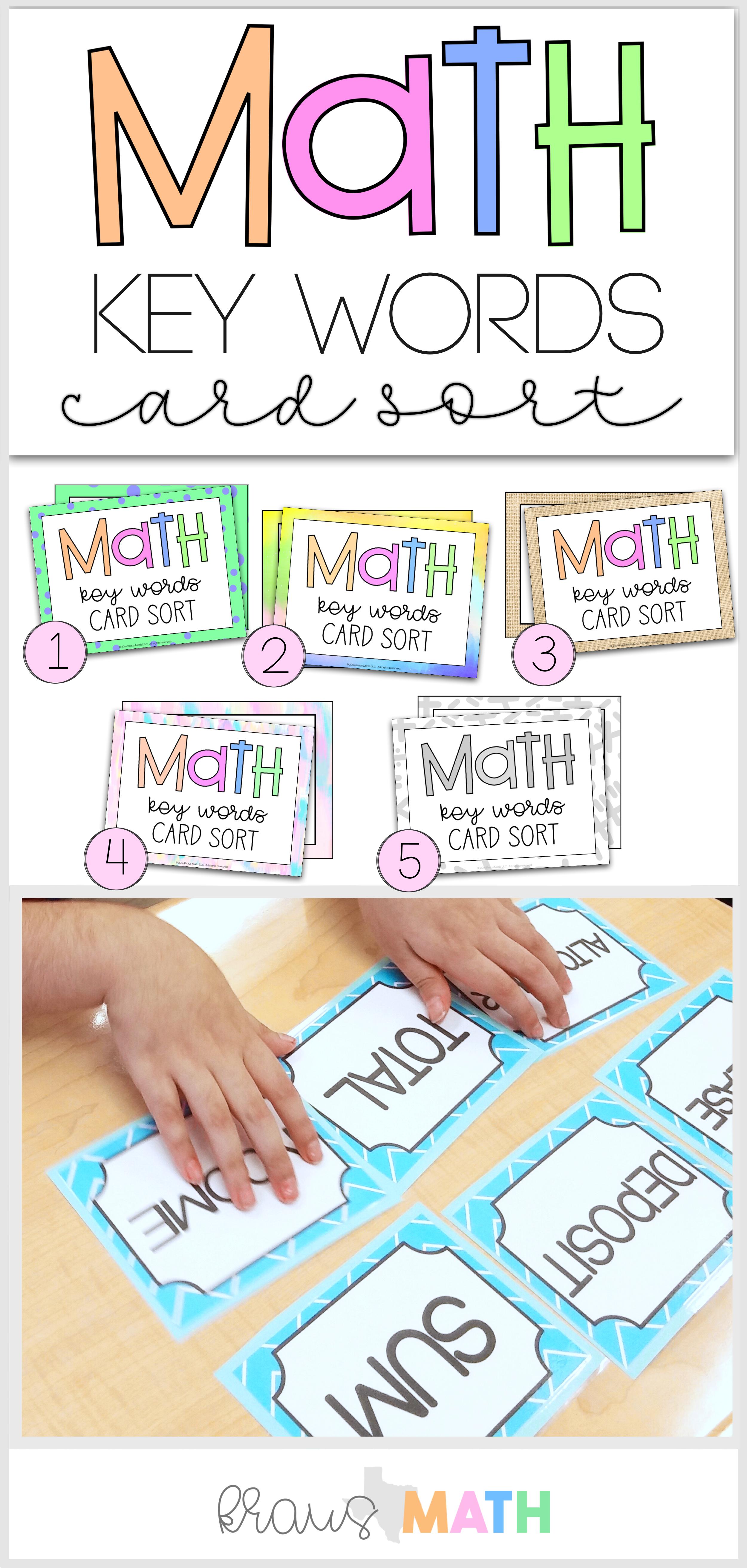 Math Key Words Card Sort Math Key Words