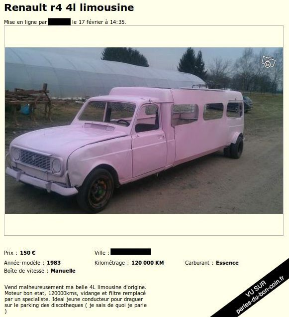 Le Bon Coin Voiture Limousin : 4l limousine bon coin voitures pinterest vehicule les filles et rire ~ Gottalentnigeria.com Avis de Voitures