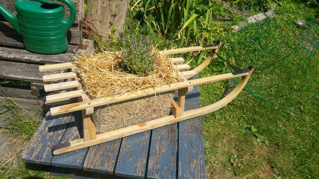 Sledge Straw Bale Plant Box | Planter Ideas | Plant box, Straw bales
