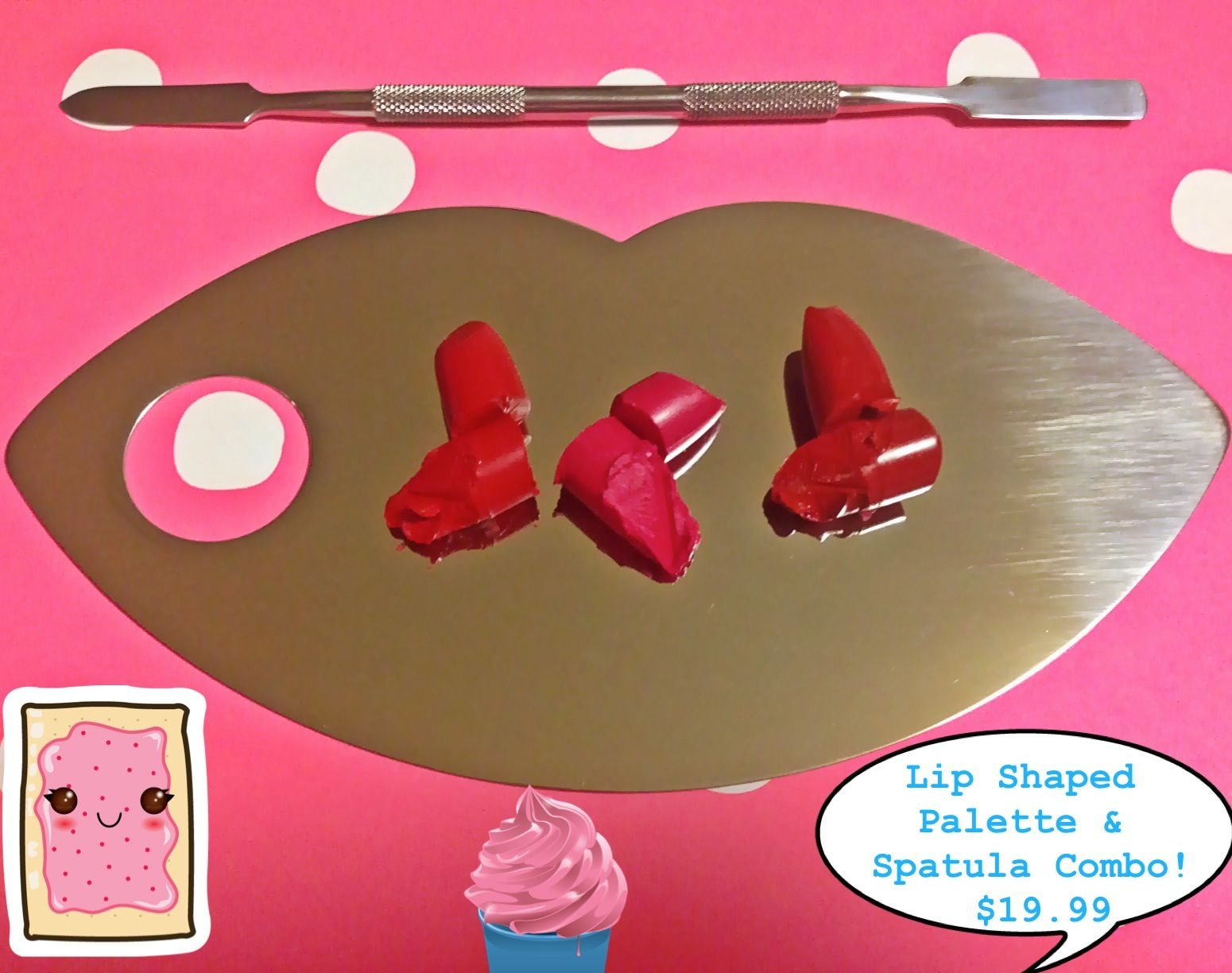 Stainless Steel Mixing Makeup Palette & Spatula COMBO
