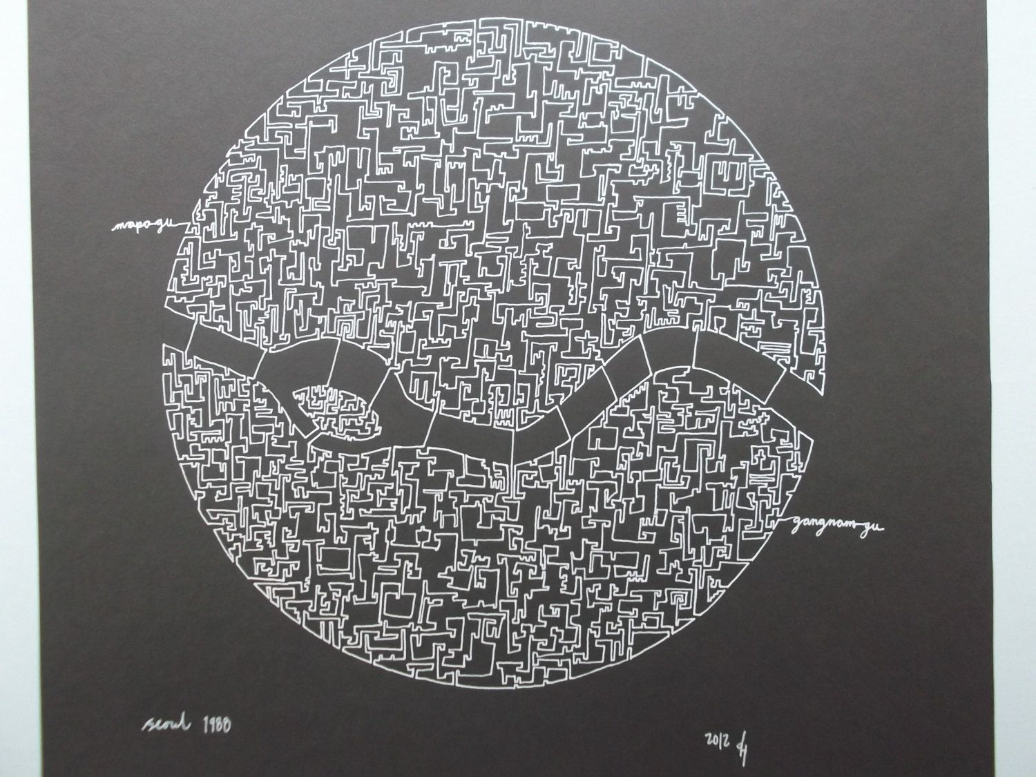 Seoul Olympic City Abstract Map Drawing By