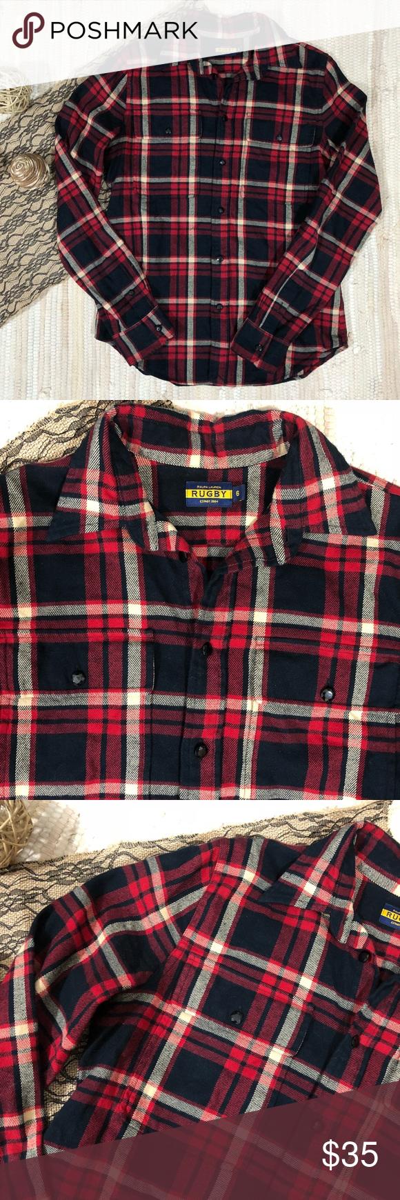 Flannel under shirt  Ralph Lauren Rugby Plaid Flannel Shirt Two front button pockets