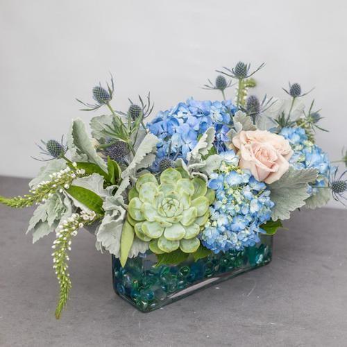 Coastal Sea Glass Flower Arrangements Unique Floral Arrangements Rectangle Glass Vase