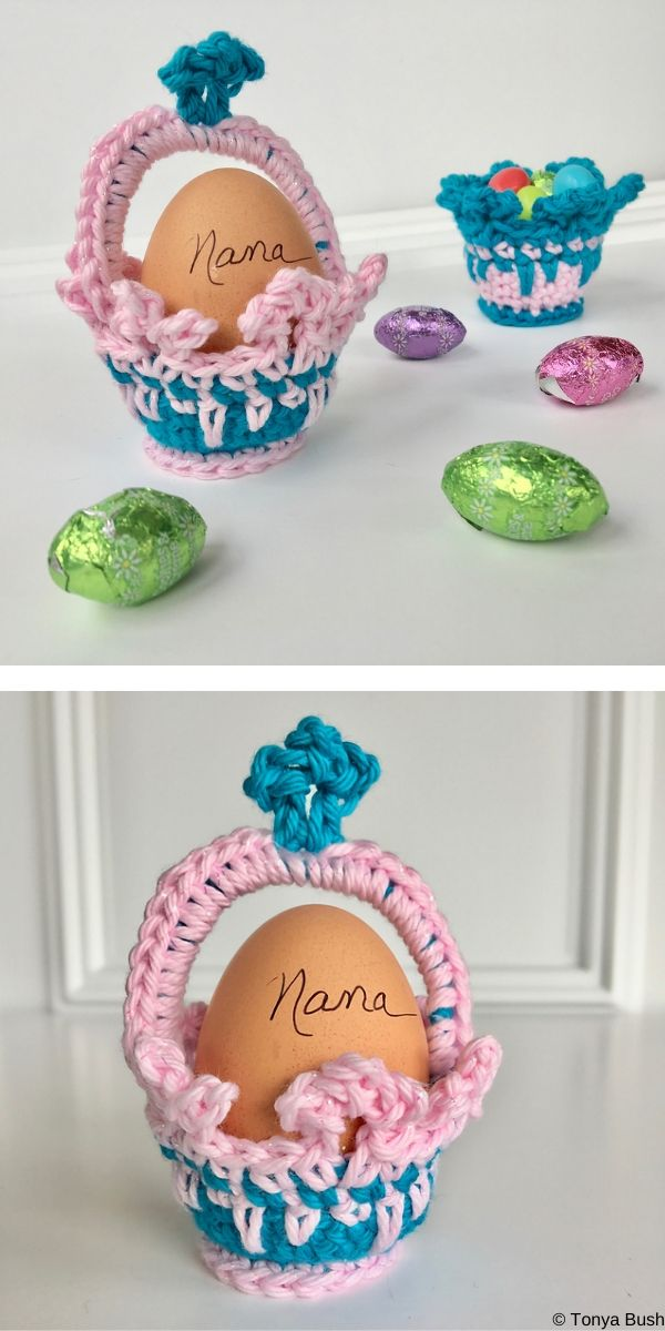 Crown Easter Basket Egg Cozy Free Crochet Pattern