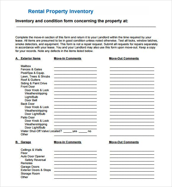 10+ Landlord Inventory Templates Free Printable Excel  PDF - free landlord inventory template