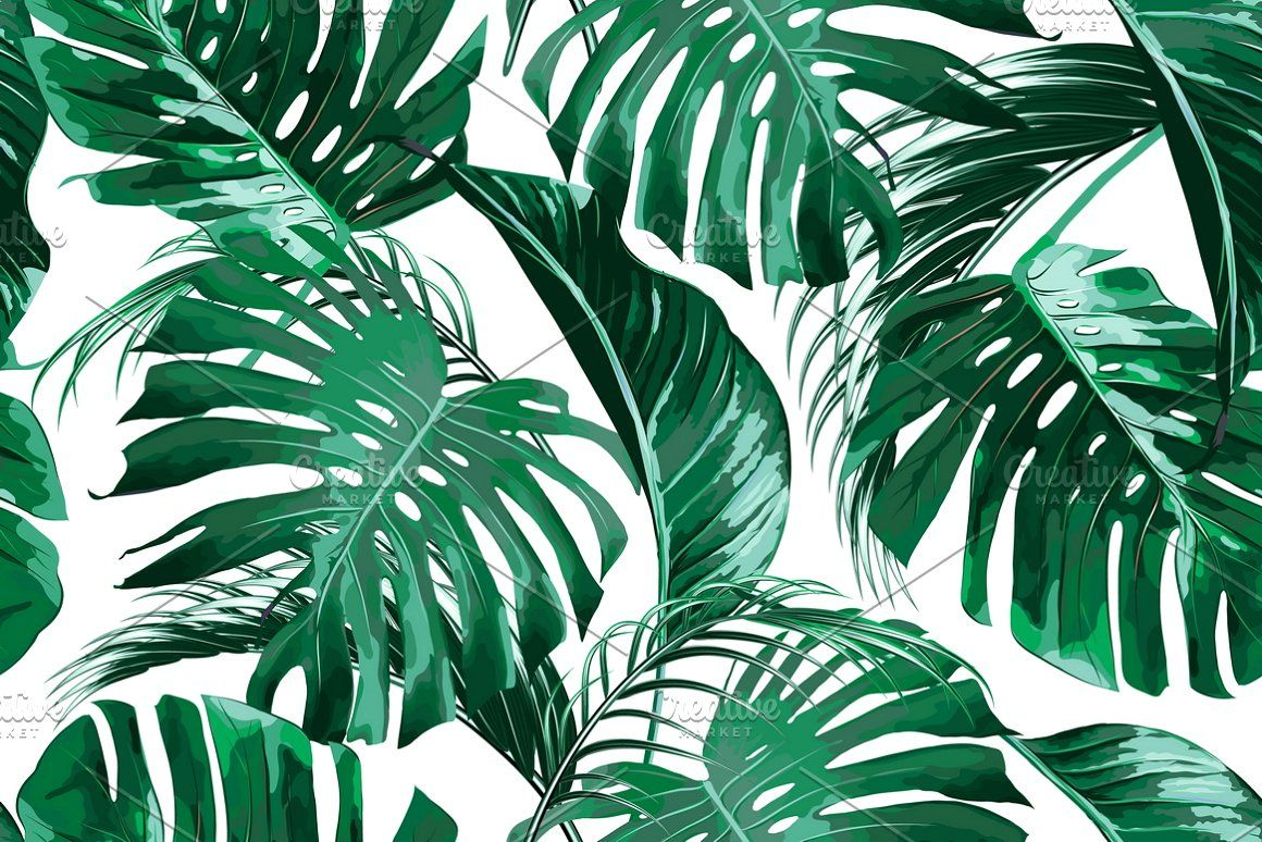 Tropical Jungle Leaves Pattern Leaf Background Leaves Vector Tropical