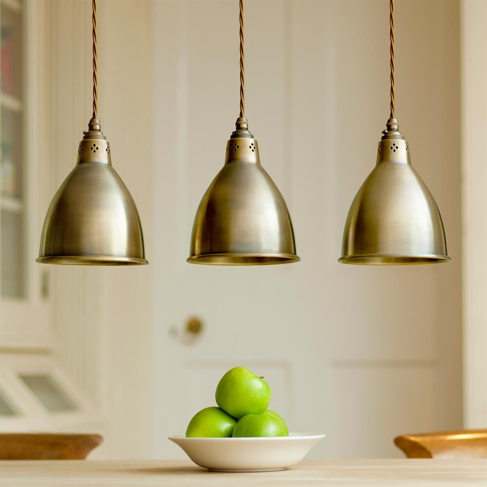 Barbican Pendant Light In Antiqued Brass Pinterest Kitchen - Kitchen pendant lighting brass