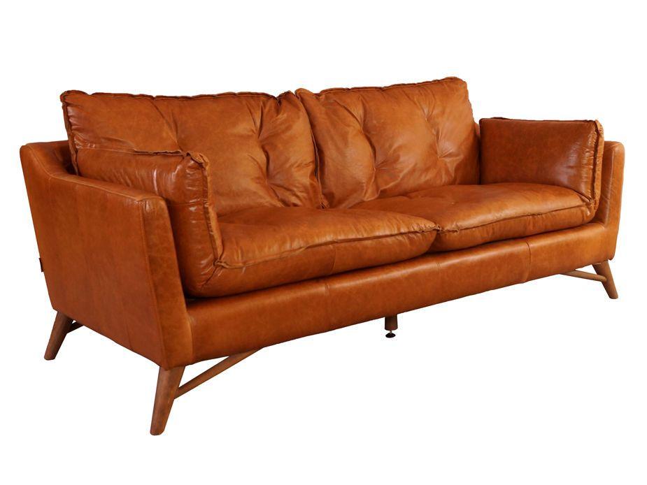 Bantry Sofa 3 Sitzer Design Ledersofa Columbia Brown Vintage Leder