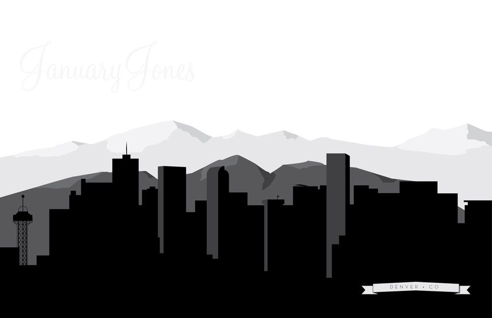 Denver colorado detailed skyline art print poster wall