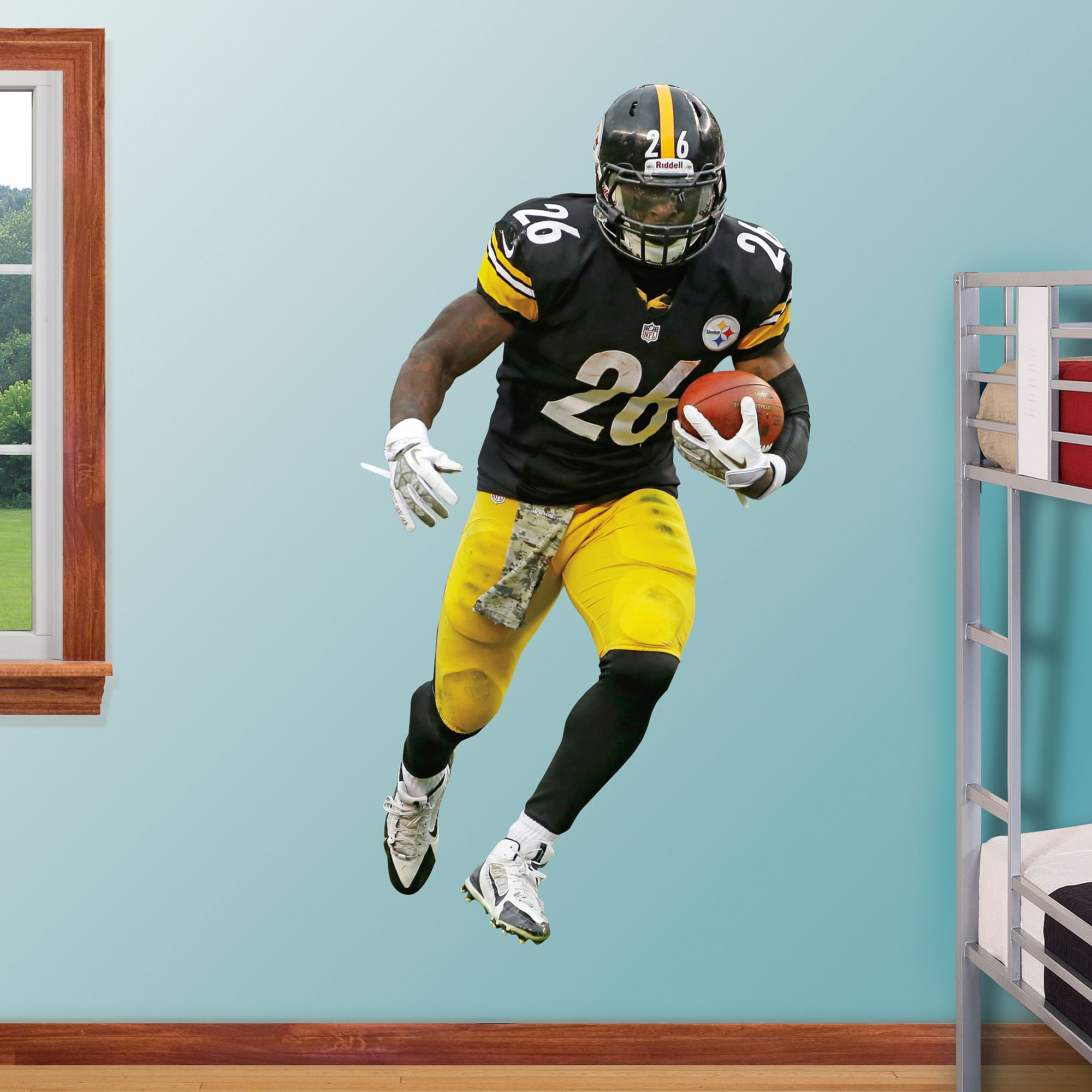 Leveon bell pittsburgh steelers wall decals and le veon bell diy life size wall decals a fathead stays up on its own with a amipublicfo Image collections