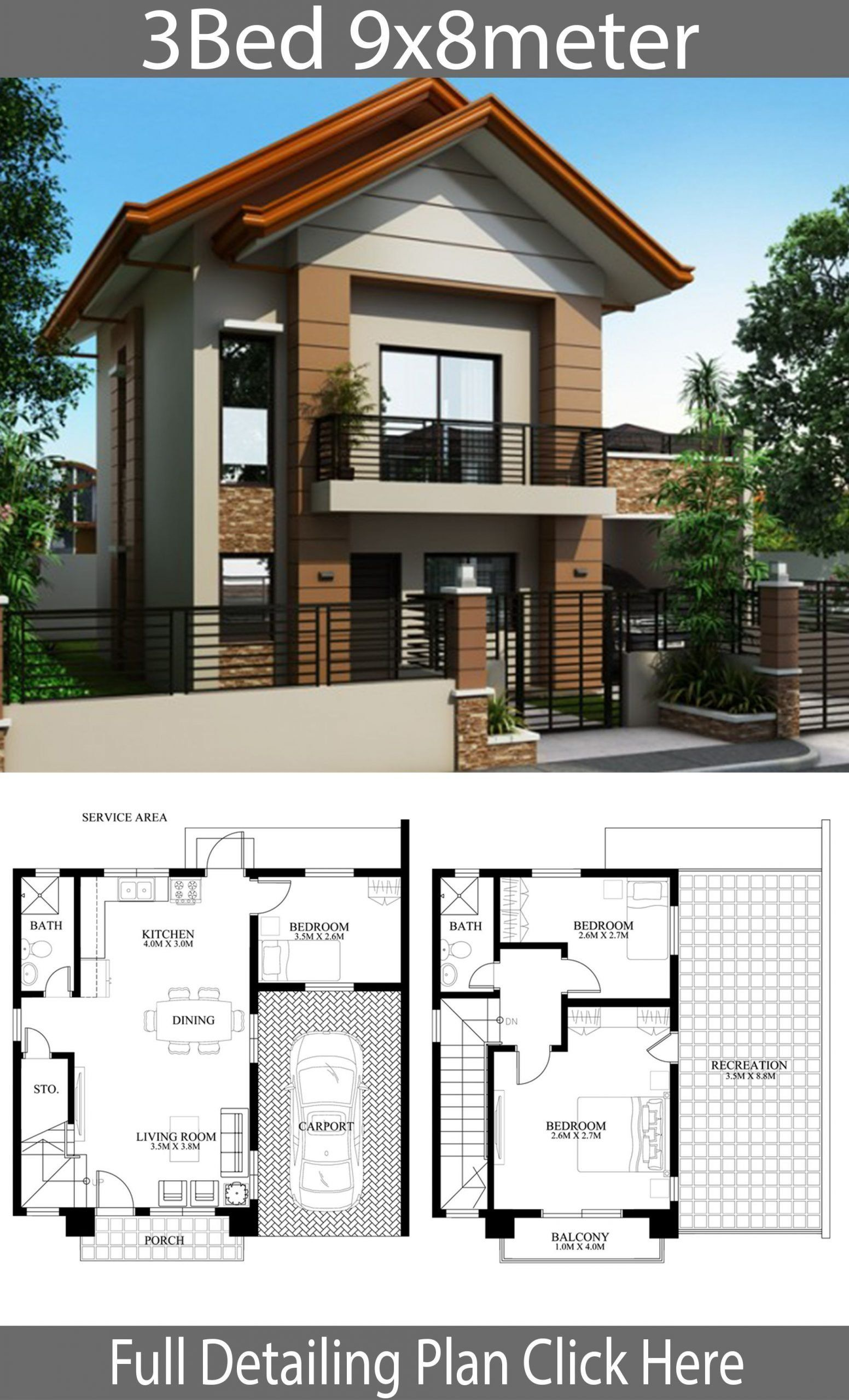 Modern House Designs 2 Story 5 Home Plan Ideas 8x13m 9x8m 10x13m 11x12m Model House Plan Two Story House Design 2 Storey House Design