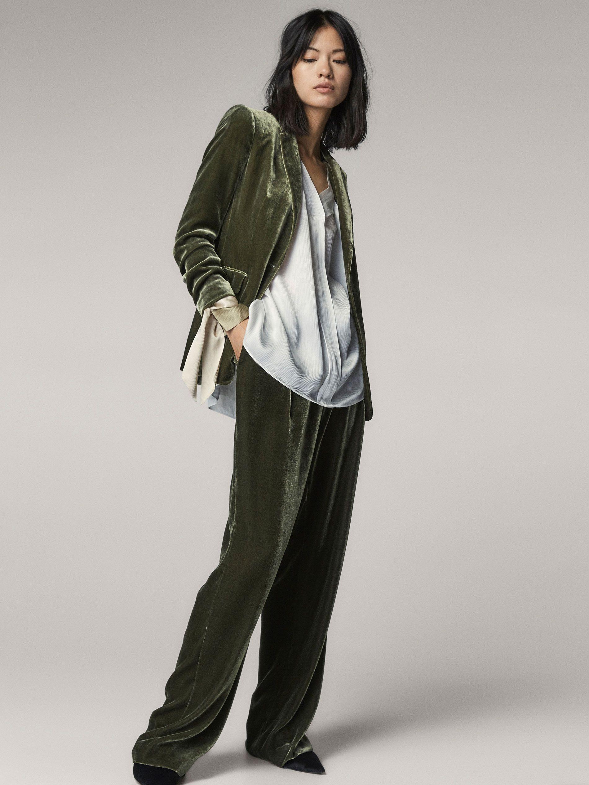 Fit Pour Slim Soie Vert Femmes Velours De Costumes Massimo Veste ZIwx4qRgx
