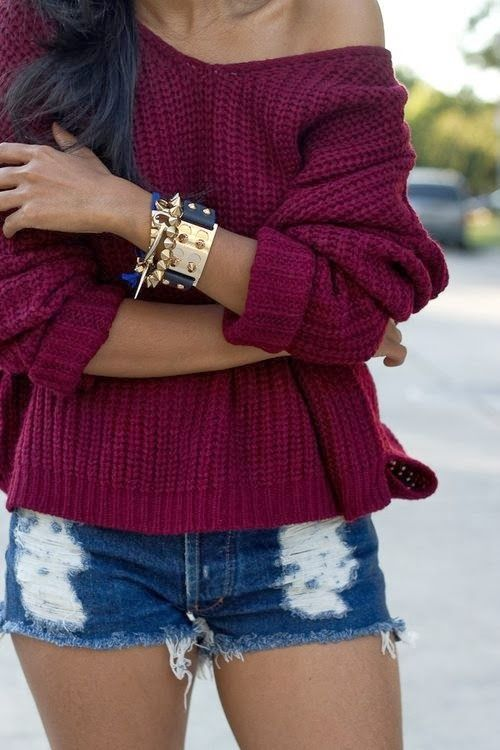 Burgundy Sweater With Jeans Shorts | [Fashion] Trends | Pinterest ...