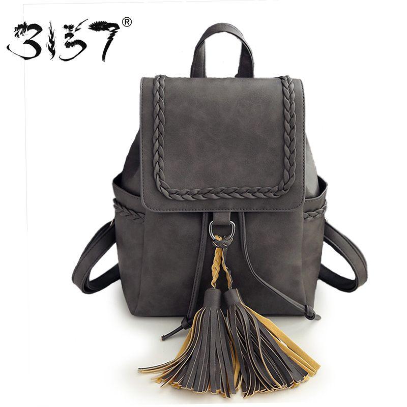 cb2ae9ca05 vintage tassel women bakcpack solid school bag high quality simple bags for girls  female leather backpack