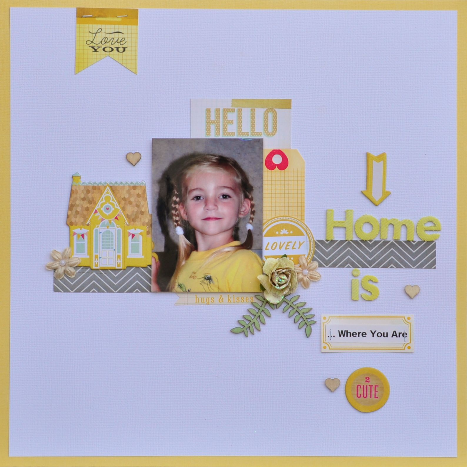 """Home is where you are - My Creative Scrapbook Limited Edition Kit Crate Paper """"Oh Darling"""" col stickers,Prima flowers and Studio Calico wood veneer leaves and hearts"""