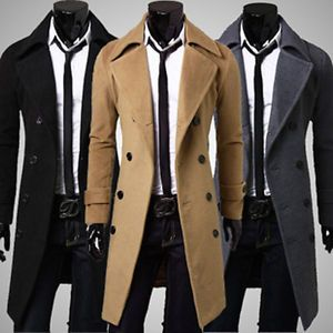 Mens Double Breasted Overcoat Trench Pea Coat Long Slim Fit Suit