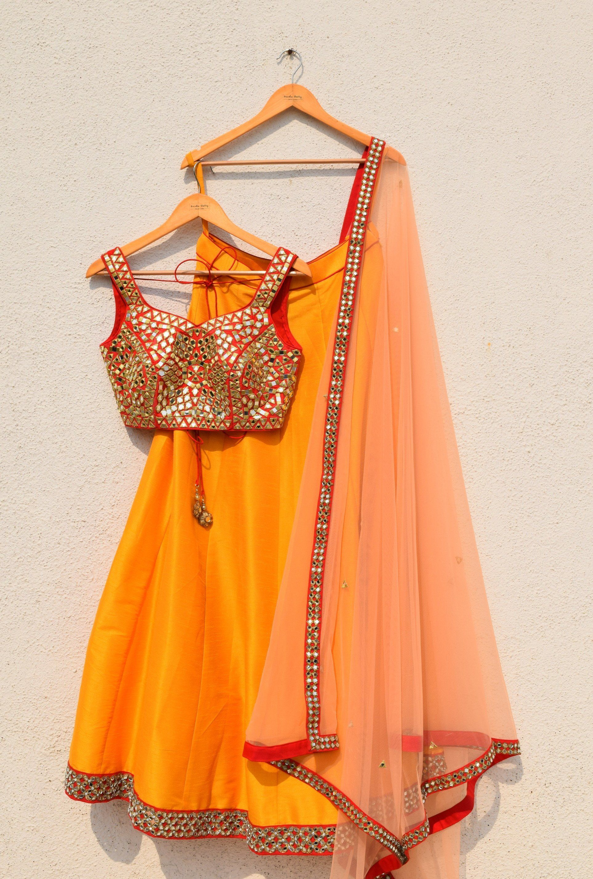 5cf9bbb42fc6ab Peach Dupatta With Red Mirror Blouse And Mango Lehenga in 2019 ...