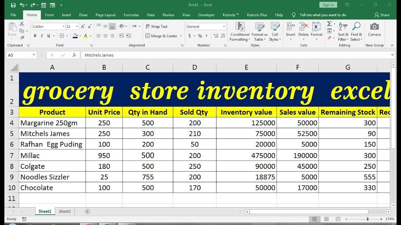 grocery store inventory excel in 2020   Grocery store ...