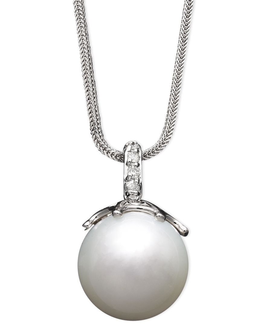 14k White Gold Necklace, Cultured South Sea Pearl (14mm) and Diamond Accent Pendant