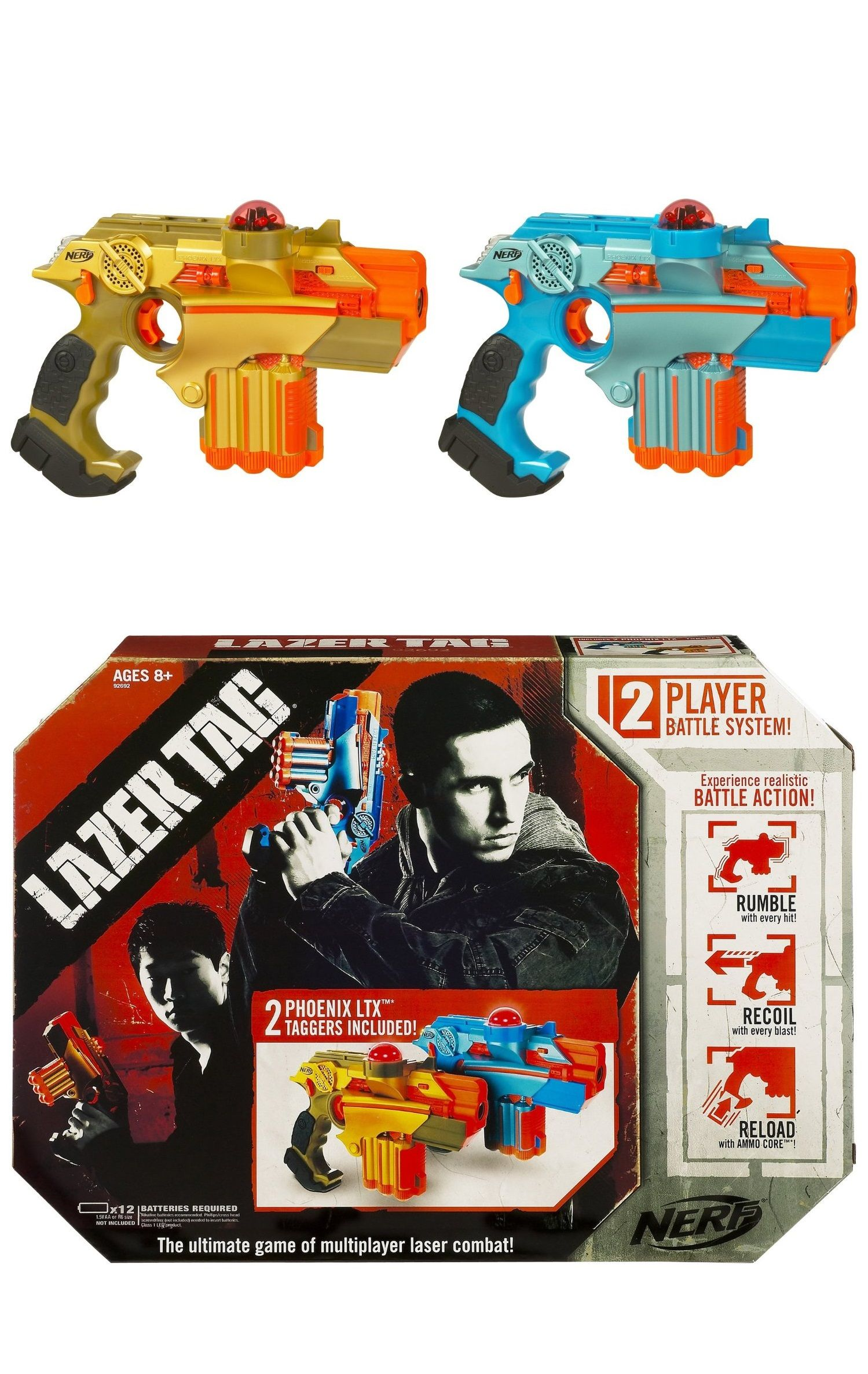 Nerf Lazer Tag Phoenix LTX Tagger 2 Pack plete 2 player system lets you