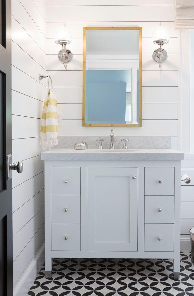 Shiplap Vanity Bathroom Patterned Tile Bathroom Ideas