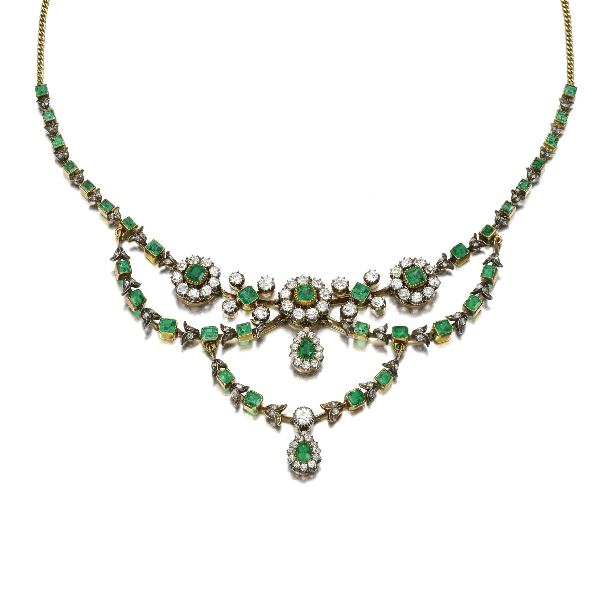 Emerald and diamond necklace circa set with stepcut emeralds