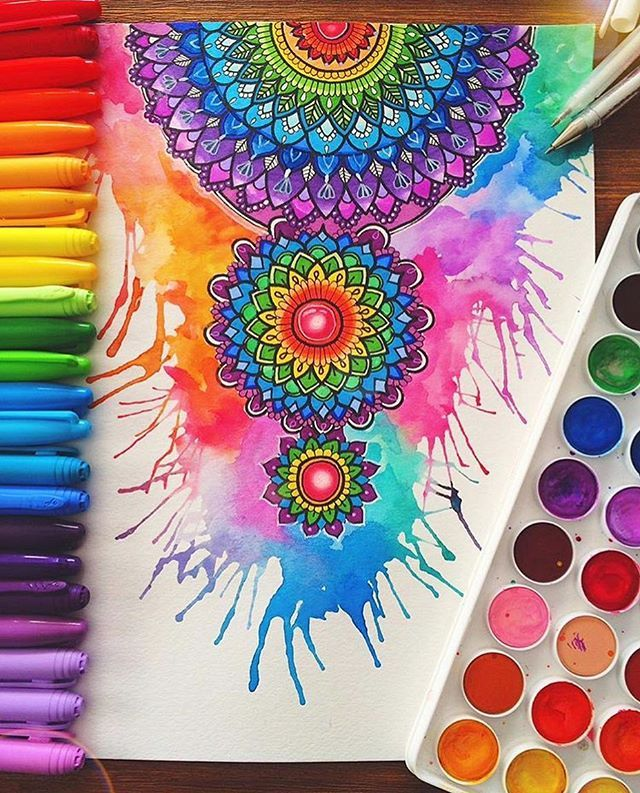 Cores Que Inspiram Mandala Aquarela Ilustracao De