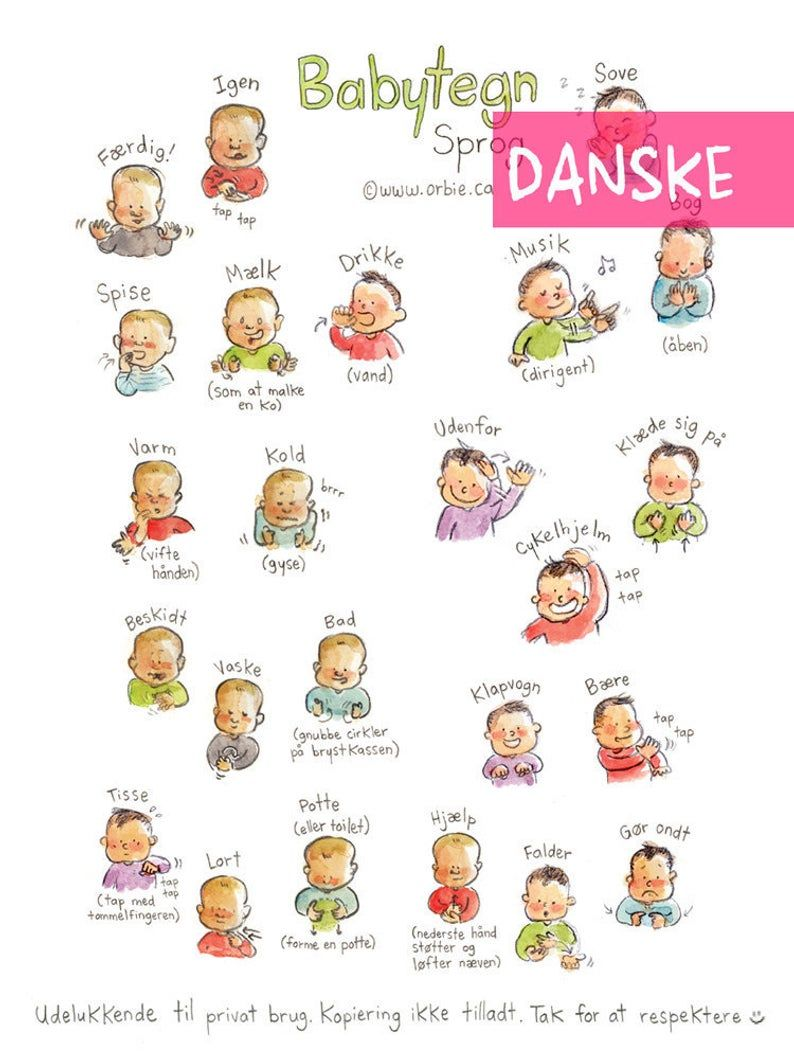Dk Baby Sign Language Poster Danish Printable Sign With Baby Communication To Print New Mom Parents Gift Speak Illustration A4 A3 Sprog Tegnsprog Born Og Foraeldre