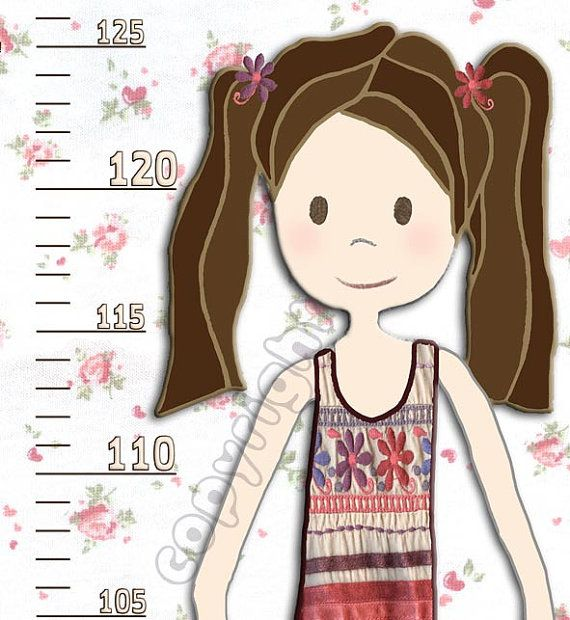 Vinyl Growth Chart for Girls White & Pink with a Kitten by RotemZ, $22.00