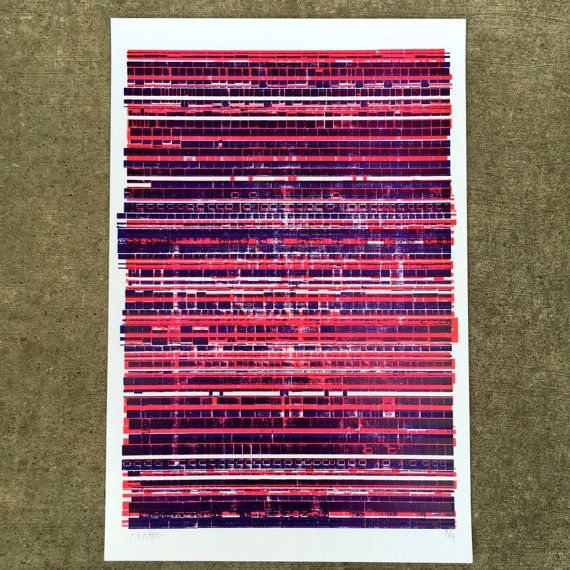 This 2-color print features a series of abstracted lines