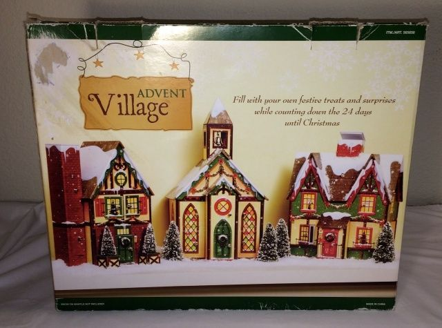 costco christmas countdown advent village victorian houses church in box