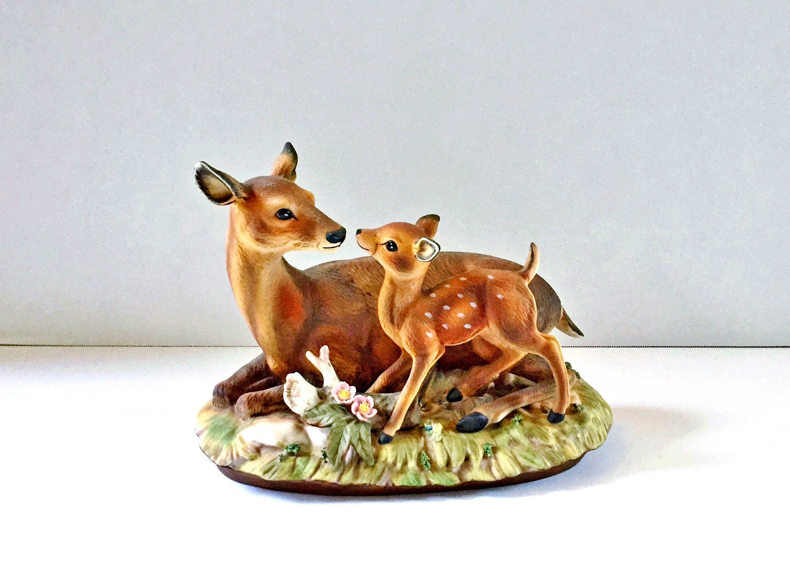 Home interior endangered species vintage  homco masterpiece porcelain figurine mother deer w fawn