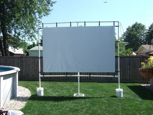Outdoor Movie Screen Made With Pvc Back Yard Outdoor Movie