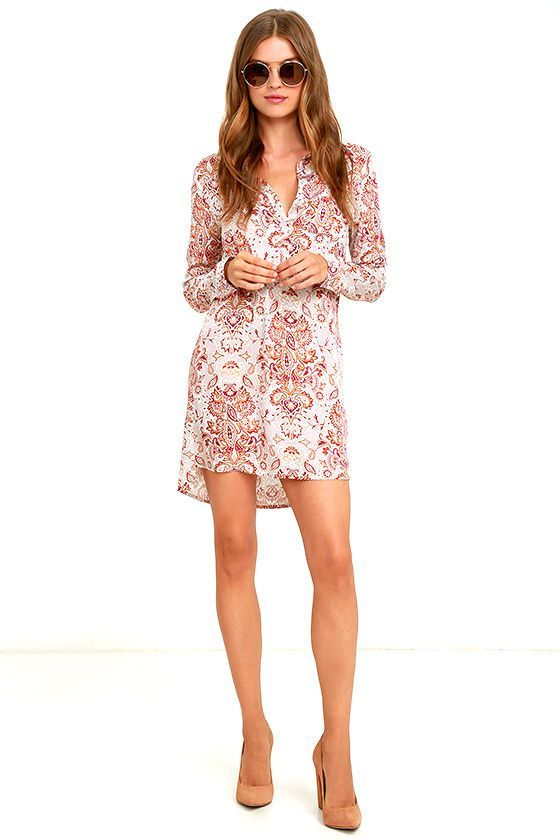 WHITE CROW ADRIFT BEIGE PRINT SHIRT DRESS