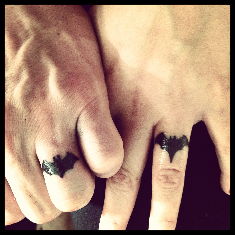 Batman/Batgirl wedding ring tattoo. My husband and I ...