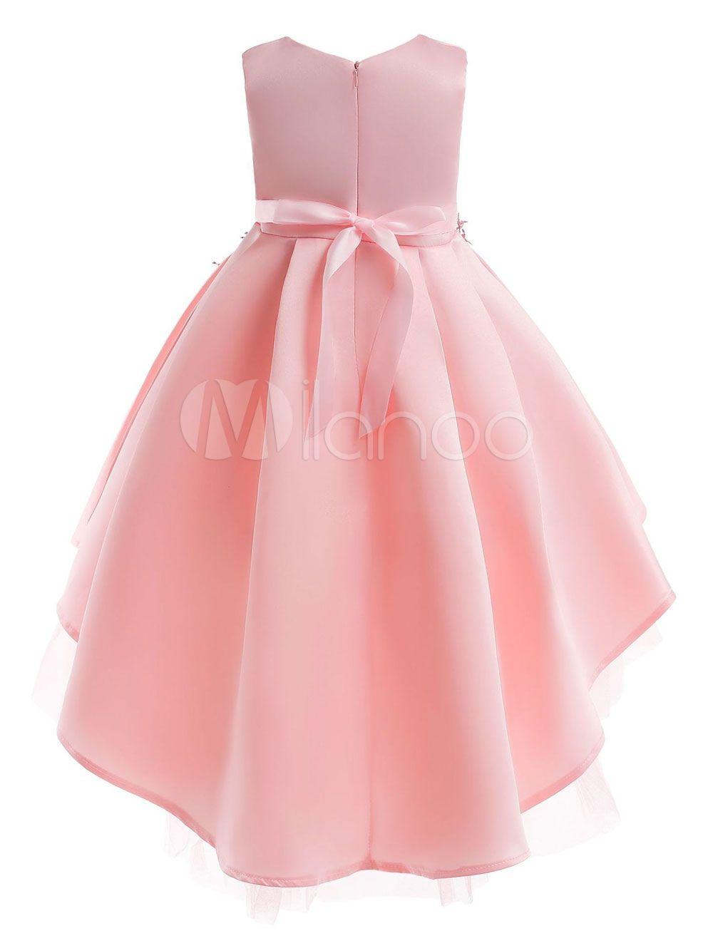 Flower Girl Dresses Pink A Line High Low Applique Asymmetrical