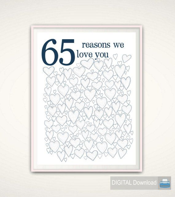 80th Wedding Anniversary Gift: 65th Birthday PRINTABLES, Dad