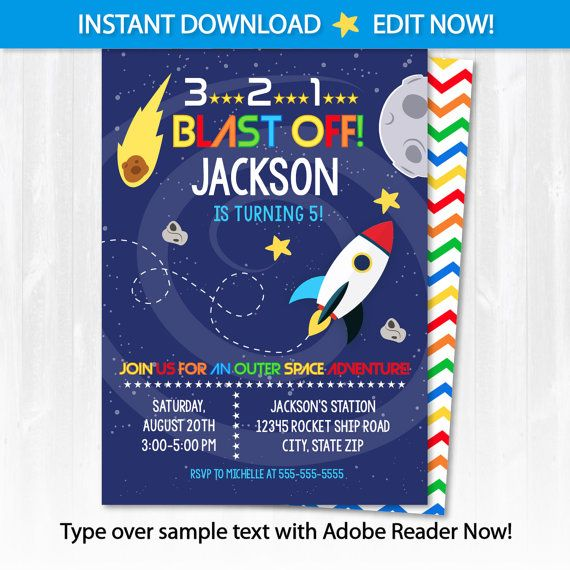 Space Party Invitations Space Themed Party Outer Space Birthday