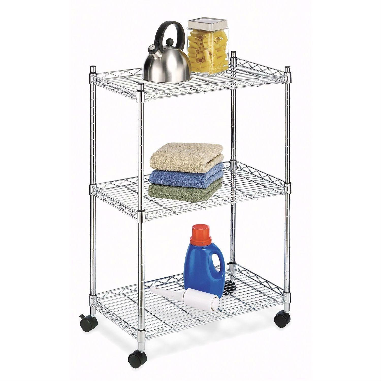 3-Tier Metal Cart on Wheels for Kitchen Microwave Bathroom Garage ...