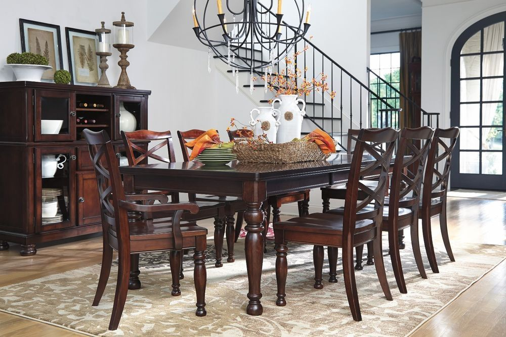 9 Piece Rustic Brown Dining Room Table Set D697